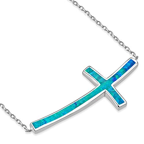 925 Sterling Silver Blue Simulated Opal Curved Sideways Cross Pendant Necklace
