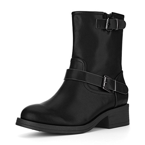 Allegra K Women's Side Zip Buckle Biker Mid Calf Black Combat Boots - 9 M US ()