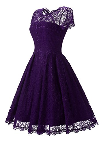 Vintage Purple Lace Cap For Cocktail Anatoky Formal Short Sleeve Foral Dress Party Women Dresses Bridesmaid tBnFp