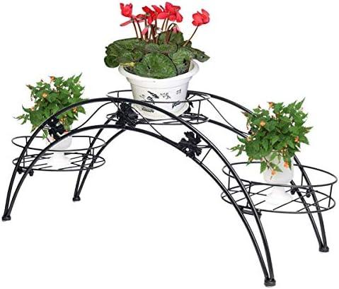 創造的なエレガントなアーチ金属鉢植え植物ガーデンテラスディスプレイラック3ホルダーフラワーポットホルダーディスプレイスタンド