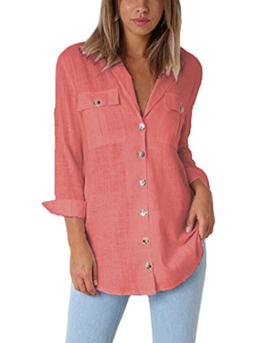 - Vetinee Women's Casual Button Down Blouse Shirts Cuffed Sleeve Loose T-Shirt Tops Coral Size X-Large (US 16-18)