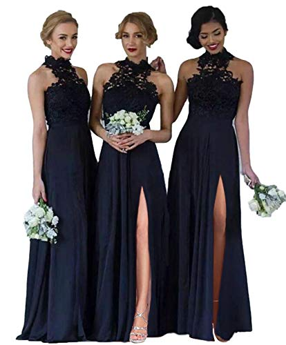 Womens Halter Neck Chiffon Lace Long A-Line Split Bridesmaid Dresses for Beach Wedding Navy 4