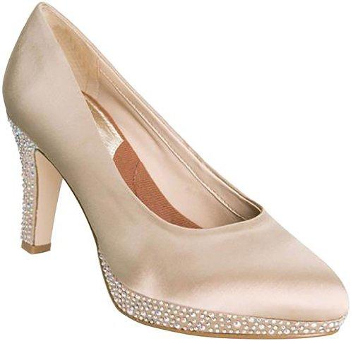 3' Heel Rhinestones (Ros Hommerson Women's Sasha Champagne Satin/Rhinestones 6 SS)