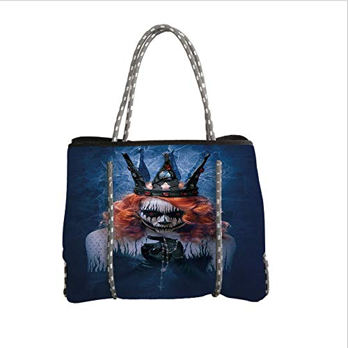 iPrint Neoprene Multipurpose Beach Bag Tote Bags,Queen,Queen of Death Scary Body Art Halloween Evil Face Bizarre Make Up Zombie,Navy Blue Orange Black,Women Casual Handbag Tote -