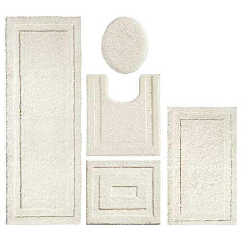 mDesign Soft Microfiber Polyester Bathroom Spa Rug Set - Water Absorbent, Machine Washable, Plush, Non-Slip - Includes 3 Rectangular Accent Rugs, Contour Mat, Toilet Lid Cover - Set of 5 - Ivory