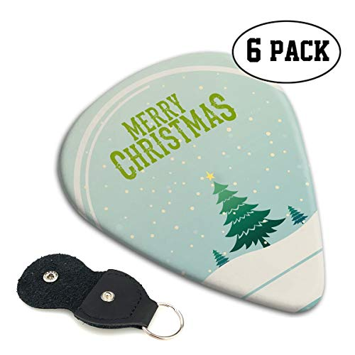 Teesofun Fashion ABS Plastic Guitar Picks Merry Christmas Snow Globe Cool Stylish Guitar Accessories 6 Pack for Acoustic, Electric, Original and Bass Guitars