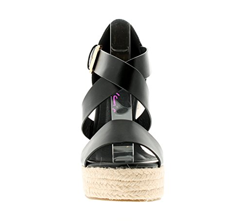 Nuevo Mujer Negro Dolcis Whirl Tiras Sandalias De Cuña - Negro - GB Tallas 3-8
