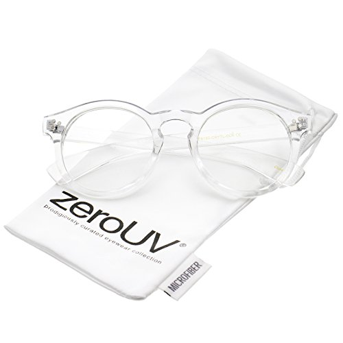 zeroUV - Classic Translucent Wide Temple Round Clear Lens P3 Round Eyeglasses 50mm (Clear / - Glasses Translucent
