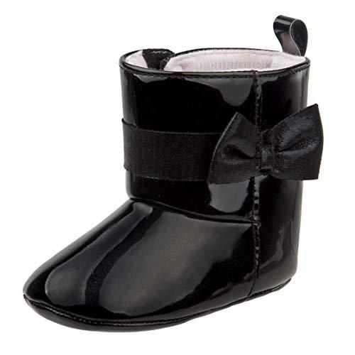 Laura Ashley Baby Girls Glitter and Velvet Soft Bottom Boots, Black Patent, 2 M US Infant'