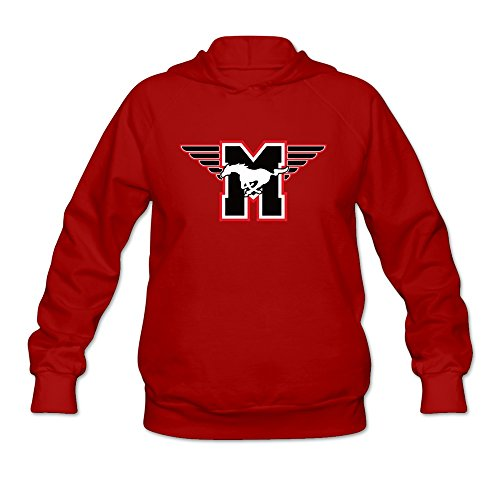 Womens Flying M SMU Mustangs Hoodie Red 100% ()