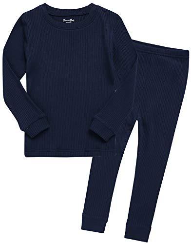 Boys Long Sleeve Modal Sleepwear Pajamas 2pcs Set Rib Knit Navy XL