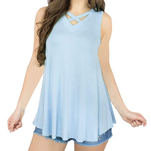 NCCIYAZ Womens Vest Tank Sleeveless Crisscross V-Neck Shirt Ladies Stylish Swing Pleated Solid Camisole(M(6),Blue) - Jazz Squat Cup