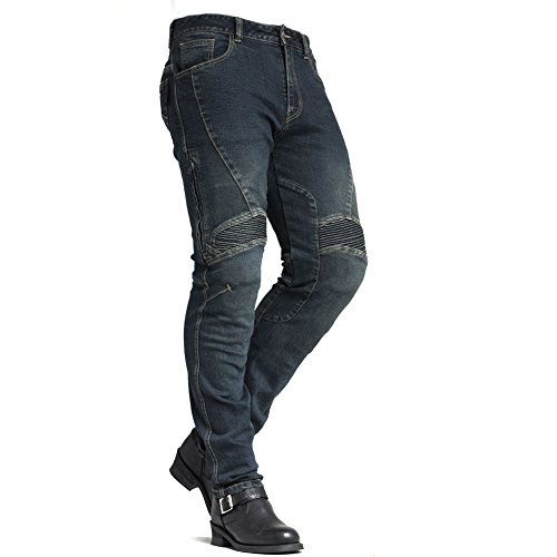 (Maxlerjean MAXLER Jean Biker Jeans for Men Motorcycle Motorbike Riding Jeans 1604 Blue 42 )