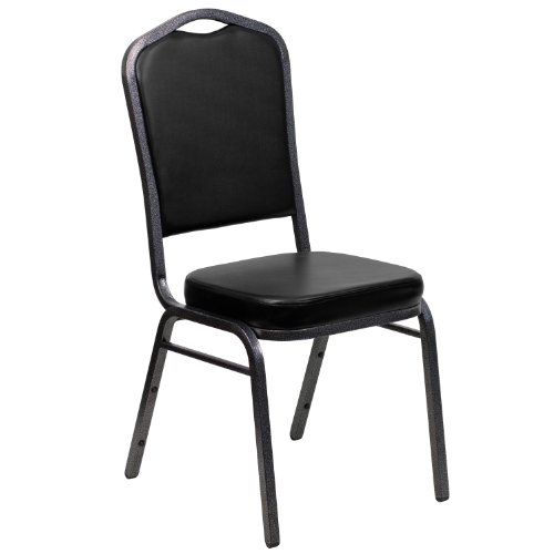 Flash Furniture HERCULES Series Crown Back Stacking Banquet Chair in Black Vinyl - Silver Vein Frame