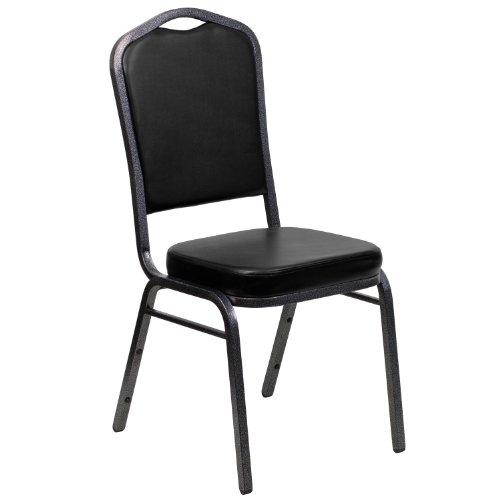 Armless Vinyl - Flash Furniture HERCULES Series Crown Back Stacking Banquet Chair in Black Vinyl - Silver Vein Frame