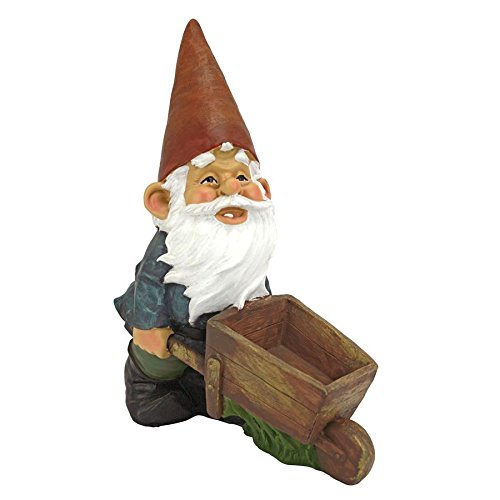 Gnome Sculpted Garden (Design Toscano QM2433000 Wheelbarrow Willie Garden Gnome Statue Bird Feeder, 12 inch, Multicolored)