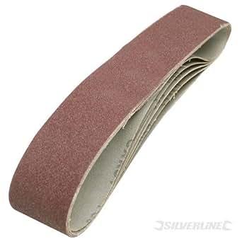 Silverline - Bandas de lijado de óxido de aluminio ligadas con resina, 50 x 686 mm, gramaje 80, compatibles con lijadoras de 50 x 686 mm, 5 unidades