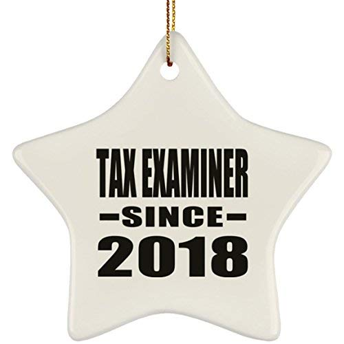 Price comparison product image Tax Examiner Since 2019 Star Ornament Xmas Christmas Tree Decor-ation Best Funny Gag Gift Idea for Friend Birthday Baby Christmas Xmas Engagement Wedding Anniversary