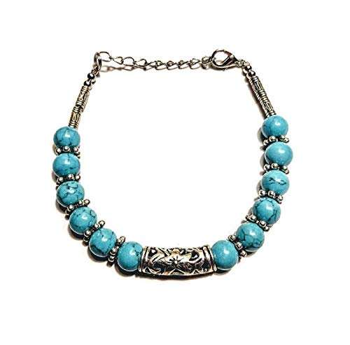 (Turquoise Blue Beaded Link Bracelet with Edelweiss Flower)