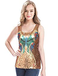 Shimmer Glam Butterfly Sequin Tank Top