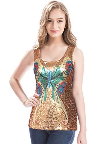 Sequin Butterfly Dress - MANER Women's Shimmer Glam Butterfly Sequin Tank Top Round Neck Vest Tops (Caramel, S)