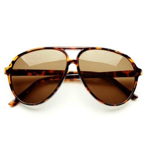 Zoom Classic Sunglasses Plastic Aviator Tear Drop Shape with Double Brow, Tortoise Color Frames/Brown Color Lenses, Large by - Classic Zoom Sunglasses