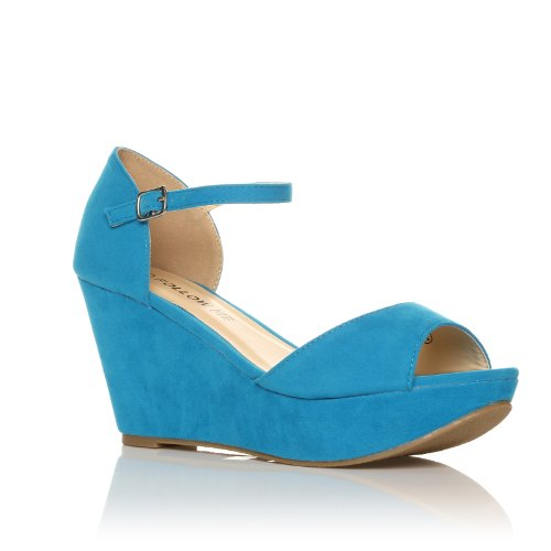 NEW WOMEN LADIES ANKLE STRAP SANDALS PLATFORM WEDGES SIZE 3-8 Turquoise Suede XZe3c