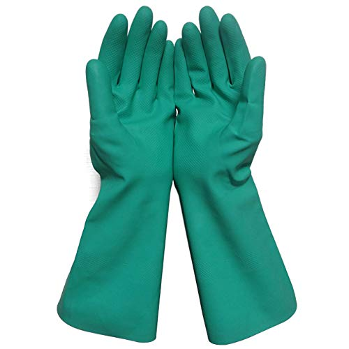 Sunyel Household Cleaning Gloves, 15 Mil Green Reusable Heavy Duty Nitrile Gloves with Resistance to Oil, Acid, Alkali and Solvent (Large)