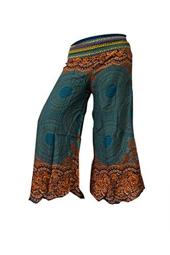 Pantalón Palazzo de pierna ancha o de campana estampado, hippy, boho, gitano, festival, hipster Rose Dark Green