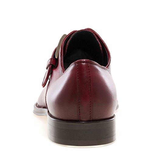 JUMP NEWYORK Men's MARCO Narrow ToeHand Painted Leather Monk StrapDress Loafer Burgundy SJCJm7G5kn