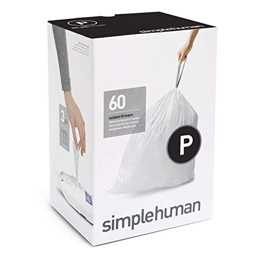 simplehuman Code P Custom Fit Drawstring Trash Bags, 50-60 Liter / 13-16 Gallon, 3 Refill Packs (60 Count)]()