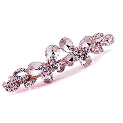 Decorative Hair Clip (Crystal Butterfly Hair Barrette Wedding Bridal Hair Clip Decorative with French Clip Clasp (Butterfly - Rose Gold))