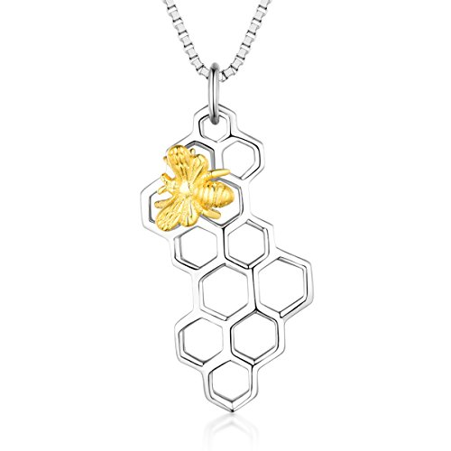 925 Sterling Silver Honeycomb and Golden Honey Bee Pendant Necklace (Sterling Honey Silver 925)