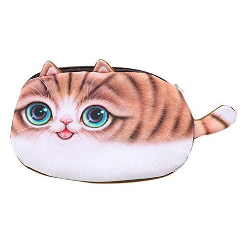 YJYdada Kids Best Gift School Cat Face Pencil Case Storage Bag Coin Purse Cosmetic Pouch (A)