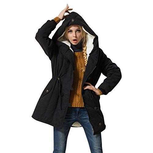 Beikoard Moda Giacca Invernale da Donna Fashion Warm Warm Giacca in Cotone Lambswool Parka di Spessore Outwear(,) Nero