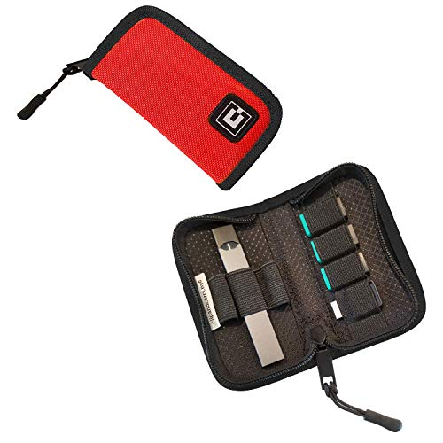 Carrying Holder Wallet Cover Case for JUUL - Fits Vape, Pods & Charger | Compatible with Most Popular Vapes: Blu, Bo, Rubi - Device Not Included (Red)