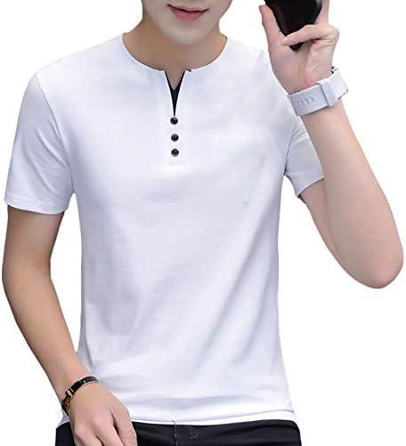 Tシャツ 半袖 シャツ おしゃれボタン フェイクボタン ラウンドネック メンズ L~3XL