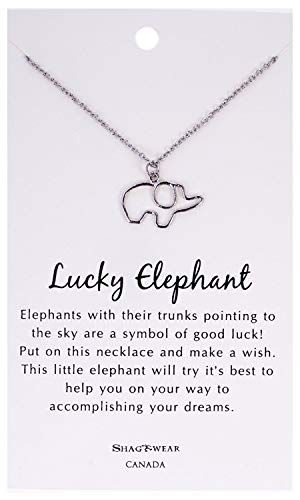 - Shag Wear Make a Wish and Luck Inspirations Quote Pendant Necklace (Lucky Elephant Pendant)