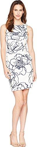 Ivanka Trump Women's Scuba Sleeveless Side Ruched Starburst Dress, Ivory/Multi-Color, 14 (Starburst Ivory)