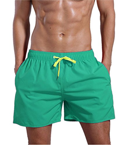 ORANSSI Men's Quick Dry Swim Trunks Bathing Suit Beach Shorts (Large/38-40 Waist, Green)