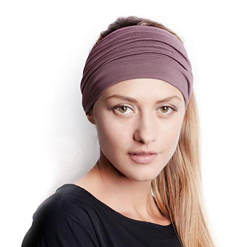 BLOM Original Multi Style Headband. for Women Yoga Fashion Workout Running Athletic Travel. Wear Wide Turban Thick Knotted + More. Comfort Style & Versatility. Winter Dusk
