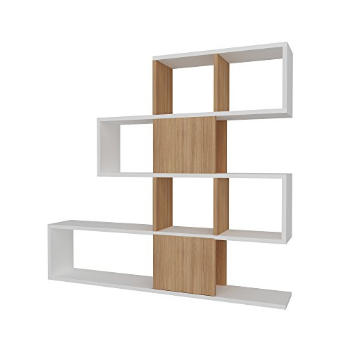 Decorotika Karlin 3.6' Room Divider Storage Standing Shelving Unit/Bookcase for Small Living Room (Teak)