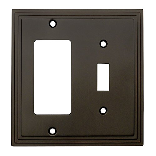 Cosmas 25077-ORB Oil Rubbed Bronze Single Toggle/GFI Decora Rocker Combo Wall Switch Plate Switchplate Cover