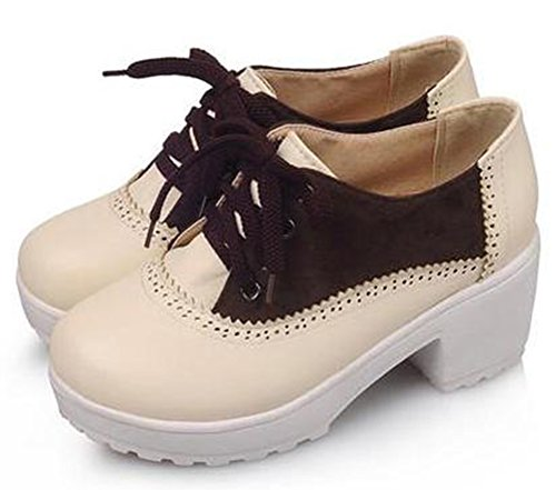 Easemax Womens Comfy Mid Chunky Heels Platform Lace Up Sneakers Shoes Brown lnOOpH