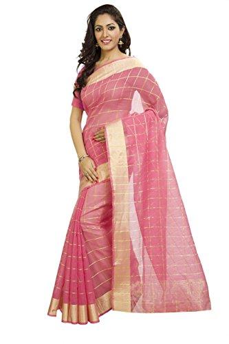 Kota Doria Cotton Saree - Rajnandini Women's Kota Doria Cotton Saree(JOPLSRS1033D_Pink_Free Size)