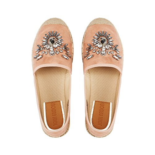 JENN ARDOR Women's Espadrille Flats Casual Sneakers Jeans Platform Slip-On Shoes with Shiny Rhinestone,9 B(M) US (25.1CM),Pink Fabric by JENN ARDOR (Image #3)