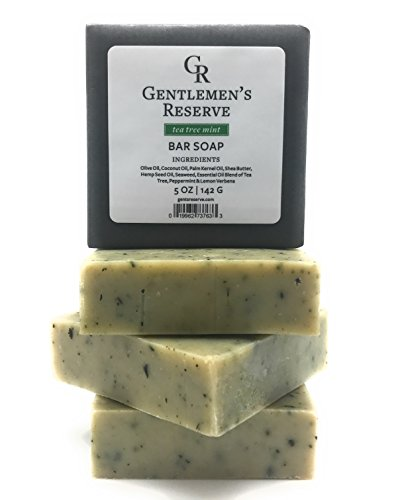 Gentlemens Reserve Premium Tea Tree Mint Bar Soap (2 BARS) - All Natural & Organic - Handmade with Olive Oil, Coconut Oil, Peppermint Oil, Tea Tree Oil