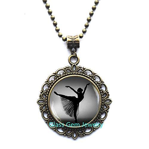 Ballerina Silhouette Pendant,Ballerina Necklace,Photo Ballerina Jewelry,Dancer Silhouette Art Pendant,Black White Ballet Dancer Necklace,Q0119 (Y2)