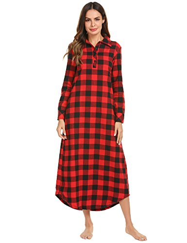 Ekouaer Nightgown,Womens Plaid Night Dress Long Sleeve Sleepwear Full Length Sleep Shirt with Pockets Loungewear,Red,Medium