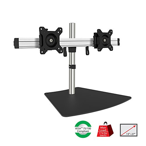 """SIIG Premium Aluminum Dual Monitor Stand - 2 Monitors 13"""" to 27"""" Up To 17.6 lbs VESA 75 and 100 (CE-MT2011-S1)"""